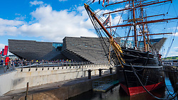 Exterior of the new V&A Museum and RRS Discovery ship at Discovery Point  on first weekend after opening in Dundee , Scotland, UK.