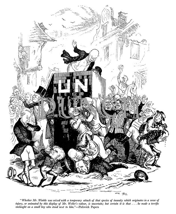 """Eatonswill at Manhattan. """"Whether Mr Winkle was seized with a temporary attack of that species of insanity which originates in a sense of injury, or animated by this display of Mr Weller's valour, is uncertain; but certain it is that...he made a terrific onslaught on a small boy who stood next to him."""" - Pickwick Papers"""