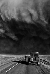 Volcanic eruption, Eyjafjallajokull, Iceland. The highway and dark volcanic ash clouds