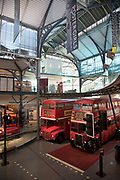 Interior view of early buses including the Routemaster at London Transport Museum in London, England, United Kingdom. The London Transport Museum, or LT Museum based in Covent Garden, seeks to conserve and explain the transport heritage of Britains capital city. The majority of the museums exhibits originated in the collection of London Transport, but, since the creation of Transport for London, TfL, in 2000, the remit of the museum has expanded to cover all aspects of transportation in the city.