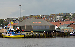 The Grand Tour marquee situated in Whitby harbour as Jeremy Clarkson's new show films in the seaside town.