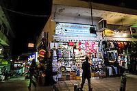 Aqaba is Jordan's only coastal city. Shopping street at night.