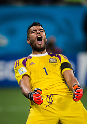 July 9, 2014 - Sao Paulo, Brazil - Argentine goalkeeper SERGIO ROMERO celebrates after saving a penalty against Netherlands. Argentina defeated the Netherlands on penalties during the match between Netherlands v Argentina. Romero saved two penalties Wednesday to send Argentina into the World Cup final with a 4-2 shootout win over the Netherlands after the game finished in a 0-0 stalemate. (Credit Image: © Jonne Roriz/Fotoarena/ZUMA Wire)