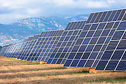 Feld of solar panels renewable energy in La Rioja, Northern Spain