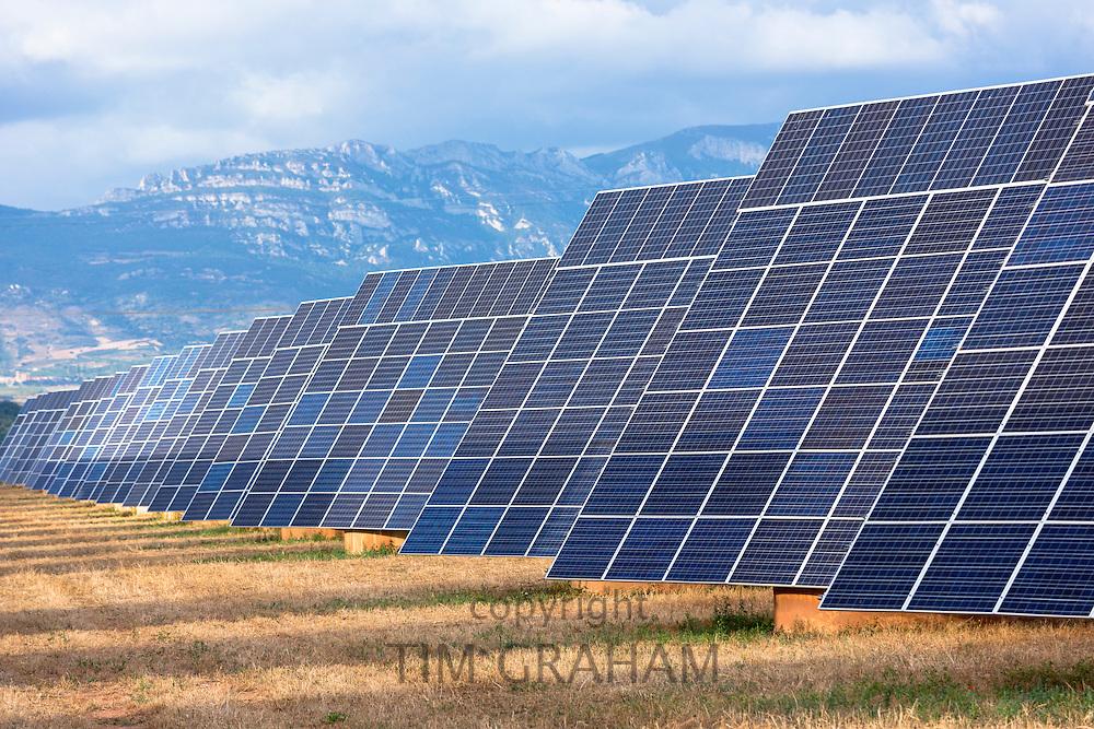 Feld of solar panels renewable energy in La Rioja, Northern Spain