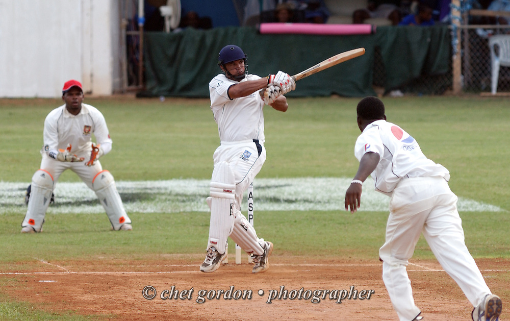 St. George's batsman Lionel Cann on the pitch against Somerset during the first day of Cup Match at the St. George's Cricket Club in St. George's, Bermuda on Thursday, July 28, 2011. The 109th. Annual Cup Match takes place during the two day public holidays of Emancipation Day and Somers Day in Bermuda.