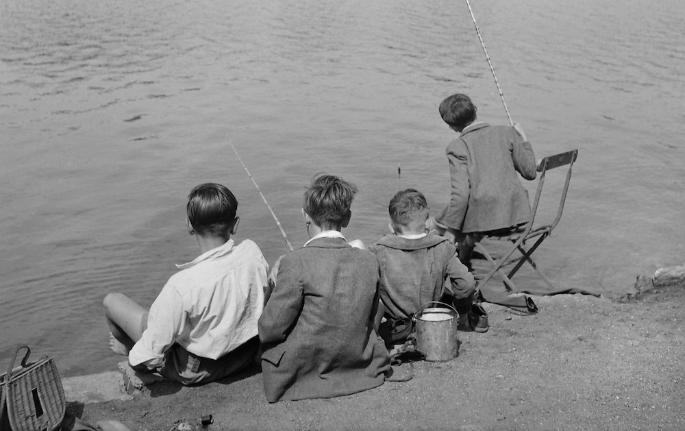 Boys Fishing in the Serpentine, Hyde Park, London, 1939