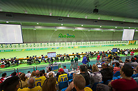 20160908 Copyright onEdition 2016©<br /> Free for editorial use image, please credit: onEdition<br /> <br /> Shooter Owen Burke, R1 - 10m Air Rifle Standing SH1 - Men, from Rhuddlan, from Alridge, competing for ParalympicsGB at the Rio Paralympic Games 2016.<br />  <br /> ParalympicsGB is the name for the Great Britain and Northern Ireland Paralympic Team that competes at the summer and winter Paralympic Games. The Team is selected and managed by the British Paralympic Association, in conjunction with the national governing bodies, and is made up of the best sportsmen and women who compete in the 22 summer and 4 winter sports on the Paralympic Programme.<br /> <br /> For additional Images please visit: http://www.w-w-i.com/paralympicsgb_2016/<br /> <br /> For more information please contact the press office via press@paralympics.org.uk or on +44 (0) 7717 587 055<br /> <br /> If you require a higher resolution image or you have any other onEdition photographic enquiries, please contact onEdition on 0845 900 2 900 or email info@onEdition.com<br /> This image is copyright onEdition 2016©.<br /> <br /> This image has been supplied by onEdition and must be credited onEdition. The author is asserting his full Moral rights in relation to the publication of this image. Rights for onward transmission of any image or file is not granted or implied. Changing or deleting Copyright information is illegal as specified in the Copyright, Design and Patents Act 1988. If you are in any way unsure of your right to publish this image please contact onEdition on 0845 900 2 900 or email info@onEdition.com