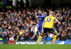 Cesc Fabregas of Chelsea passes the ball past Neil Bishop of Scunthorpe United - Mandatory byline: Robbie Stephenson/JMP - 10/01/2016 - FOOTBALL - Stamford Bridge - London, England - Chelsea v Scunthrope United - FA Cup Third Round