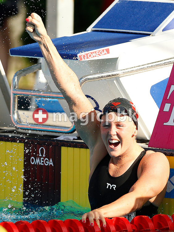 Jeanette OTTESEN of Denmark celebrates after finishing second in the women's 50m Butterfly Final at the European Swimming Championship at the Hajos Alfred Swimming complex in Budapest, Hungary, Tuesday, Aug. 10, 2010. (Photo by Patrick B. Kraemer / MAGICPBK)