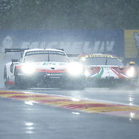 #91 Porsche followed closely by #71 AF Corse at FIA WEC Spa 6h 2019 on 04.05.2019 at Circuit de Spa-Francorchamps, Belgium
