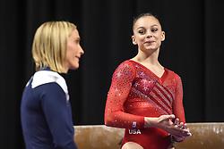 March 2, 2019 - Greensboro, North Carolina, US - GRACE MCCALLUM laughs with her coach SARAH JANTZI at the Greensboro Coliseum in Greensboro, North Carolina. (Credit Image: © Amy Sanderson/ZUMA Wire)