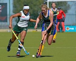 Bianca Wood of Clarendon(white)  and Robyn York of Eunice during day one of the FNB Private Wealth Super 12 Hockey Tournament held at Oranje Meisieskool in Bloemfontein, South Africa on the 6th August 2016<br /> <br /> Photo by:   Frikkie Kapp / Real Time Images
