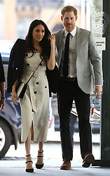 April 18, 2018 - London, United Kingdom - Prince Harry and Meghan Markle at a reception for the Commonwealth Youth Forum in London, during the Commonwealth Heads of Government Meeting(CHOGM) (Credit Image: © Rota/i-Images via ZUMA Press)