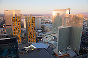City Center including the Aria, Veer Towers, Crystals, and The Residences at Mandarin Oriental, Las Vegas, Nevada.