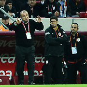 Galatasaray's coach Fatih TERIM (L) during their Turkish Superleague Galatasaray between Gaziantepspor at the TT arena in Istanbul Turkey on Wednesday 26 October 2011. Photo by TURKPIX