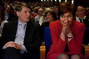 Ruth Peetoom (rechts) en Sjaak van der Tak wachten met spanning op de uitslag van de verkiezing op het CDA congres. Op het najaarscongres in Den Haag wordt de nieuwe voorzitter bekendgemaakt. De eindstrijd gaat tussen Ruth Peetoom en Sjaak van der Tak.<br /> <br /> Ruth Peetoom (right) is waiting with her competitor Sjaak van der Tak for the results of the election of the new CDA leader.