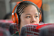 April 4, 2016; Indianapolis, Ind.; Sierra Afoa listens to music on the team bus before their game against Lubbock Christian in the NCAA Division II Women's Basketball National Championship game at Bankers Life Fieldhouse.