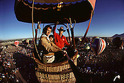 Gathering of hot air balloons, Albuquerque, New Mexico, USA. Photo shot from a camera mounted on a pole.