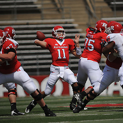 Apr 18, 2009; Piscataway, NJ, USA; Rutgers QB Domenic Natale (11) throws a long pass to WR Tim Brown (not pictured) during the first half of Rutgers' Scarlet and White spring football scrimmage.
