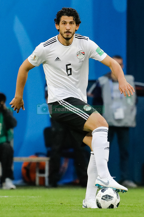 June 19, 2018 - Saint Petersburg, Russia - Ahmed Hegazy of Egypt national team during the 2018 FIFA World Cup Russia group A match between Russia and Egypt on June 19, 2018 at Saint Petersburg Stadium in Saint Petersburg, Russia. (Credit Image: © Mike Kireev/NurPhoto via ZUMA Press)