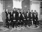 New Government Receive Seals Of Office.   (N84)..1981..30.06.1981..06.30.1981..30th June 1981..The newly elected Fine Gael /Labour coalition government under Dr Garret Fitzgerald received their seals of office from President Hillery at Áras an Uachtaráin today...Image shows the new Cabinet after they received their seals of office,the make up of the government is as follows..Taoiseach.Garret FitzGerald....Tánaiste,Michael O'Leary...Minister for Industry and Energy[1].Minister for Agriculture,Alan Dukes..Minister for Defence,.James Tully..Minister for Education,John Boland....Minister for the Environment,Peter Barry...Minister for Finance,.John Bruton.Minister for Fisheries and Forestry,Tom Fitzpatrick....Minister for Foreign Affairs,John Kelly.Minister for the Gaeltacht,.Paddy O'Toole..Minister for Health & Welfare,Eileen Desmond.Minister for Justice,Jim Mitchell.Minister for Labour & Public Svs,Liam Kavanagh.Minister for Posts and Telegraphs & Transport,Patrick Cooney.Minister for Trade, Commerce and Tourism[2].John Kelly..Attorney General, Peter Sutherland.