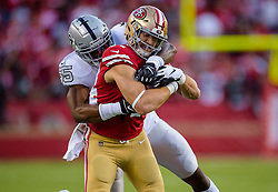 November 1, 2018 - Santa Clara, CA, USA - San Francisco 49ers fullback Kyle Juszczyk (44) is tackled by Oakland Raiders middle linebacker Marquel Lee (55) in the first quarter during a game at Levi's Stadium on Thursday, November 1, 2018 in Santa Clara. (Credit Image: © Paul Kitagaki Jr./ZUMA Wire)
