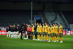 LEUVEN, BELGIUM - Wednesday, March 24, 2021: Wales players line-up before the FIFA World Cup Qatar 2022 European Qualifying Group E game between Belgium and Wales at the King Power Den dreef Stadium. Belgium won 3-1. (Pic by Vincent Van Doornick/Isosport/Propaganda)