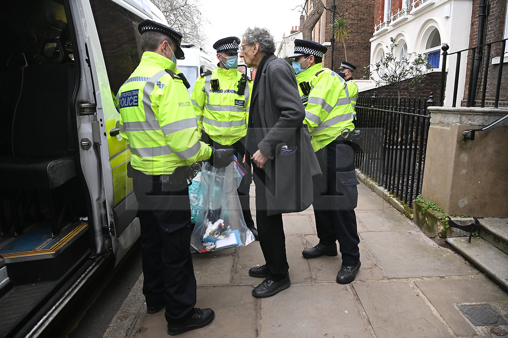 © Licensed to London News Pictures. 06/03/2021. London, UK. PIERS CORBYN is arrested  at an anti-vaccination and anti-lockdown demonstration organised by Jam For Freedom in Richmond.   The group is using music to create positive effects and health against the current tier regulations and anti-vaccination for the Covid-19 disease. Photo credit: Ray Tang/LNP