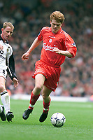Fotball, Liverpool,  John Arne Riise and Manchester United's Nicky Butt.