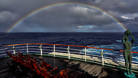 Catching the Rainbow on the deck of the MV World Odyssey. Crossing the Pacific Ocean from Hawaii to Japan. Semester at Sea, Spring 2016 Voyage - Day 11.  Image taken with a Leica T camera and 11-23 mm lens (ISO 100, 11 mm, f/14, 1/500 sec).
