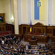 KIEV, UKRAINE - February 22, 2014: Arseniy Yatsenyuk, the newly designated Prime Minister-designate of the unity government in Ukraine, talk to the parliament in Kiev. CREDIT: Paulo Nunes dos Santos