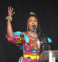Marvina Newton speaking at The People's Assembly protest london . photo by Krisztian Elek