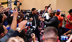 Chris Weidman and Daniel Cormier during UFC 230 Media Day at Madison Square Garden.