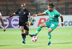 02102018 (Durban) Amazulu player Nhlanhla Vilakazi and Maritzburg United player Mxolisi Kunene fight for a ball during the game when AmaZulu FC takes head on their KwaZulu-Natal rivals Maritzburg United in an Absa Premiership match at the King Zwelithini Stadium in Durban on Tuesday night. Usuthu extended their winless run to three league games when they lost 2-0 to Kaizer Chiefs away in their previous match over a week ago and after losing 6 points.<br /> Picture: Motshwari Mofokeng/African News Agency (ANA)