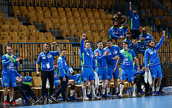 Team Slovenia celebrates during handball match between National Teams of Slovenia and Poland in Qualification Phase 2 of Men's EHF Euro 2022 Qualifiers, on March 9, 2021 in Arena Zlatorog, Celje, Slovenia. Photo by Vid Ponikvar / Sportida