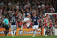 Andreas Bouhalakis of Nottingham Forest © celebrates after scoring his team's first goal. EFL Skybet football league championship match, Brentford  v Nottingham Forest at Griffin Park in London on Saturday 12th August 2017.<br /> pic by Steffan Bowen, Andrew Orchard sports photography.