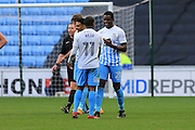 GOAL CELEBRATION Andre Wright is congratulated after putting Coventry 2-0 upduring the EFL Sky Bet League 1 match between Coventry City and Rochdale at the Ricoh Arena, Coventry, England on 22 October 2016. Photo by Daniel Youngs.