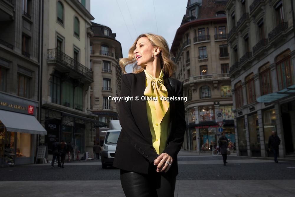 Genève, novembre 2016. Patricia Gucci. Elle sort un livre intitulé «Au nom de Gucci».  © Olivier Vogelsang