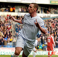 Photo: Jed Wee.<br /> Bolton Wanderers v Fulham. The Barclays Premiership. 26/02/2006.<br /> <br /> Kevin Nolan celebrates after putting Bolton into the lead for the first time in the game.