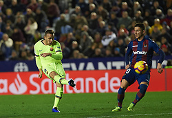December 16, 2018 - Valencia, Valencia, Spain - Enis Bardhi of Levante UD and Arthur Melo of FC Barcelona during the La Liga match between Levante UD and FC Barcelona at Ciutat de Valencia Stadium on December 16, 2018 in Valencia, Spain. (Credit Image: © AFP7 via ZUMA Wire)