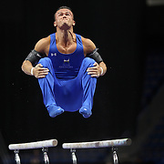 Paul Ruggeri III, Manlius, New York, in action on the Parallel bars during the Senior Men Competition at The 2013 P&G Gymnastics Championships, USA Gymnastics' National Championships at the XL, Centre, Hartford, Connecticut, USA. 16th August 2013. Photo Tim Clayton