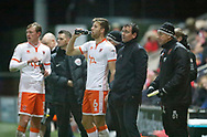 Blackpool players take a drink during the EFL Sky Bet League 1 match between Fleetwood Town and Blackpool at the Highbury Stadium, Fleetwood, England on 25 November 2017. Photo by Paul Thompson.