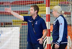 Head coach Primoz Pori and Misa Marincek at practice of Slovenian Handball Women National Team, on June 3, 2009, in Arena Kodeljevo, Ljubljana, Slovenia. (Photo by Vid Ponikvar / Sportida)