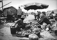 Produce seller (R) and customer at a makeshift market along a road that is slowly being exposed as the waters of Tonle Sap slowly recede at the end of the monsoon, Chong Kneas, Cambodia.