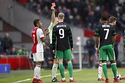 (L-R) David Neres of Ajax, referee Bjorn Kuipers, Nicolai Jorgensen of Feyenoord, Jean-Paul Boetius of Feyenoord, Joel Veltman of Ajax during the Dutch Eredivisie match between Ajax Amsterdam and Feyenoord Rotterdam at the Amsterdam Arena on January 21, 2018 in Amsterdam, The Netherlands