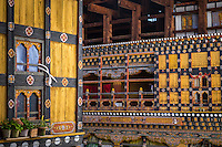 PARO, BHUTAN - CIRCA October 2014: Architectural detail inside the Paro Rinpung Dzong, a landmark in Paro, Bhutan