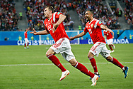 Russia Artem Dzyuba (L) celebrates his goal with Alexander Samedov during the 2018 FIFA World Cup Russia, Group A football match between Russia and Egypt on June 19, 2018 at Saint Petersburg Stadium in Saint Petersburg, Russia - Photo Stanley Gontha / Pro Shots / ProSportsImages / DPPI