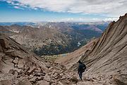 David Alley, of St. Paul, MN, hikes down The Trough, after a successful summit of Longs Peak, Rocky Mountain National Park, Colorado.