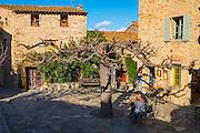 Village square in Castelnou, Pyrenees Orientales, France